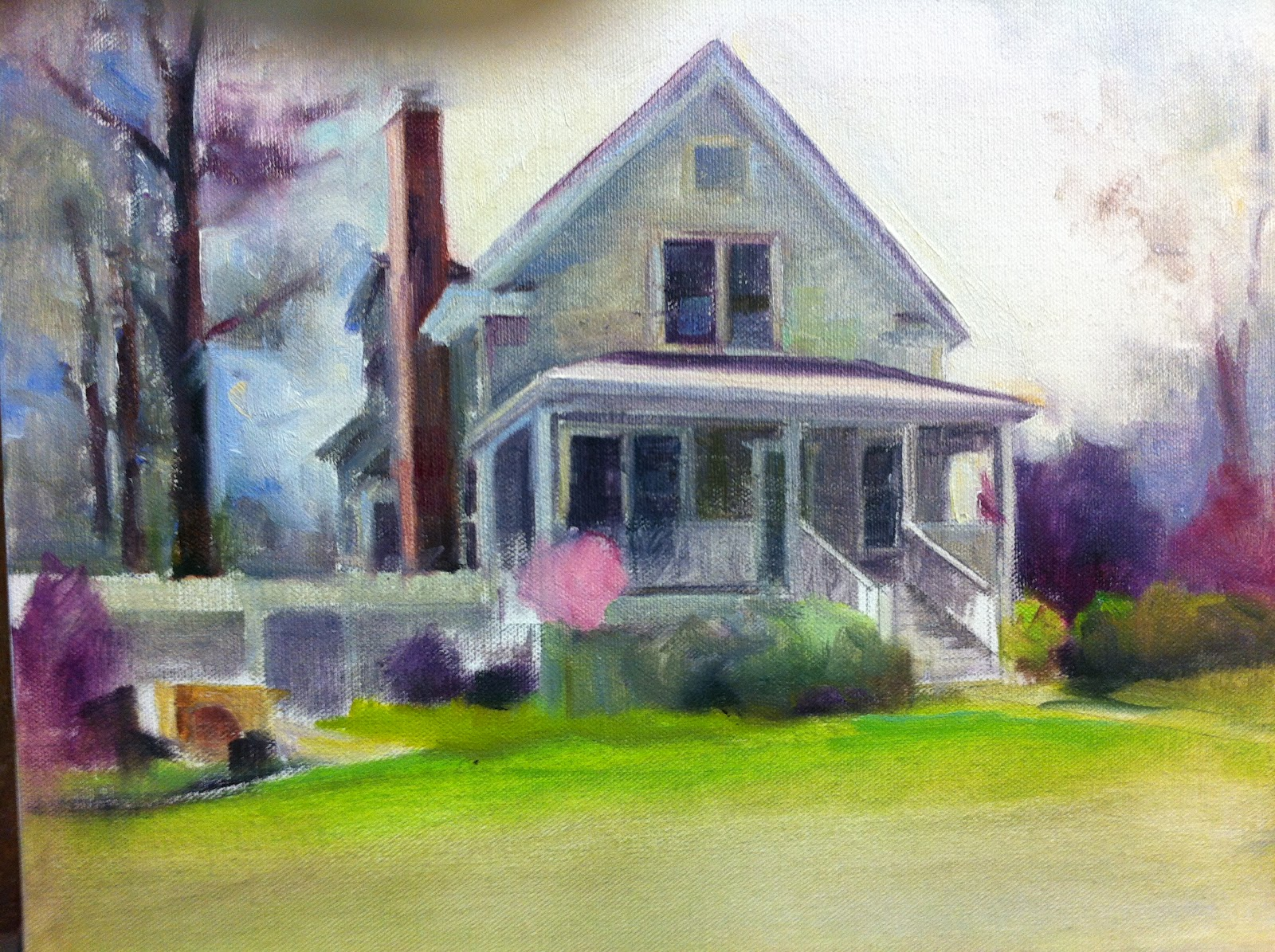 Home sweet home painting - I Decided To Change The Tree Line On The Right Side Of The Painting In The Reference Photos You Can See Another House On The Right Side Which I Did Not