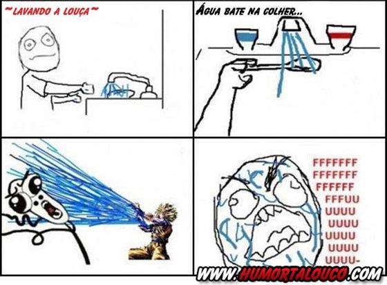 Tirinha: Lavando a louça...