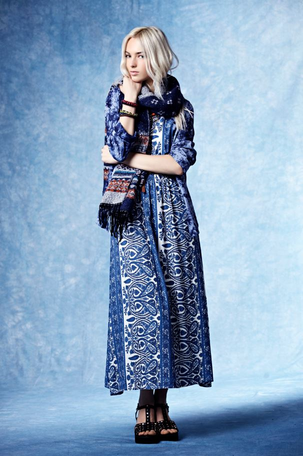 Boohoo China Blue Autumn Winter Chunky Scarf Printed Dress