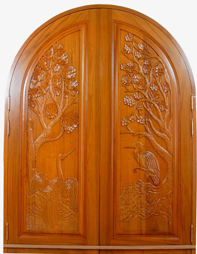 New kerala model wooden front door double door designs for Simple wooden front door designs
