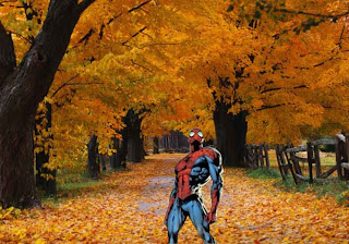 Spiderman Comic Super Heroe Wallpapers Standing Tall in Classic Autumn Trees background