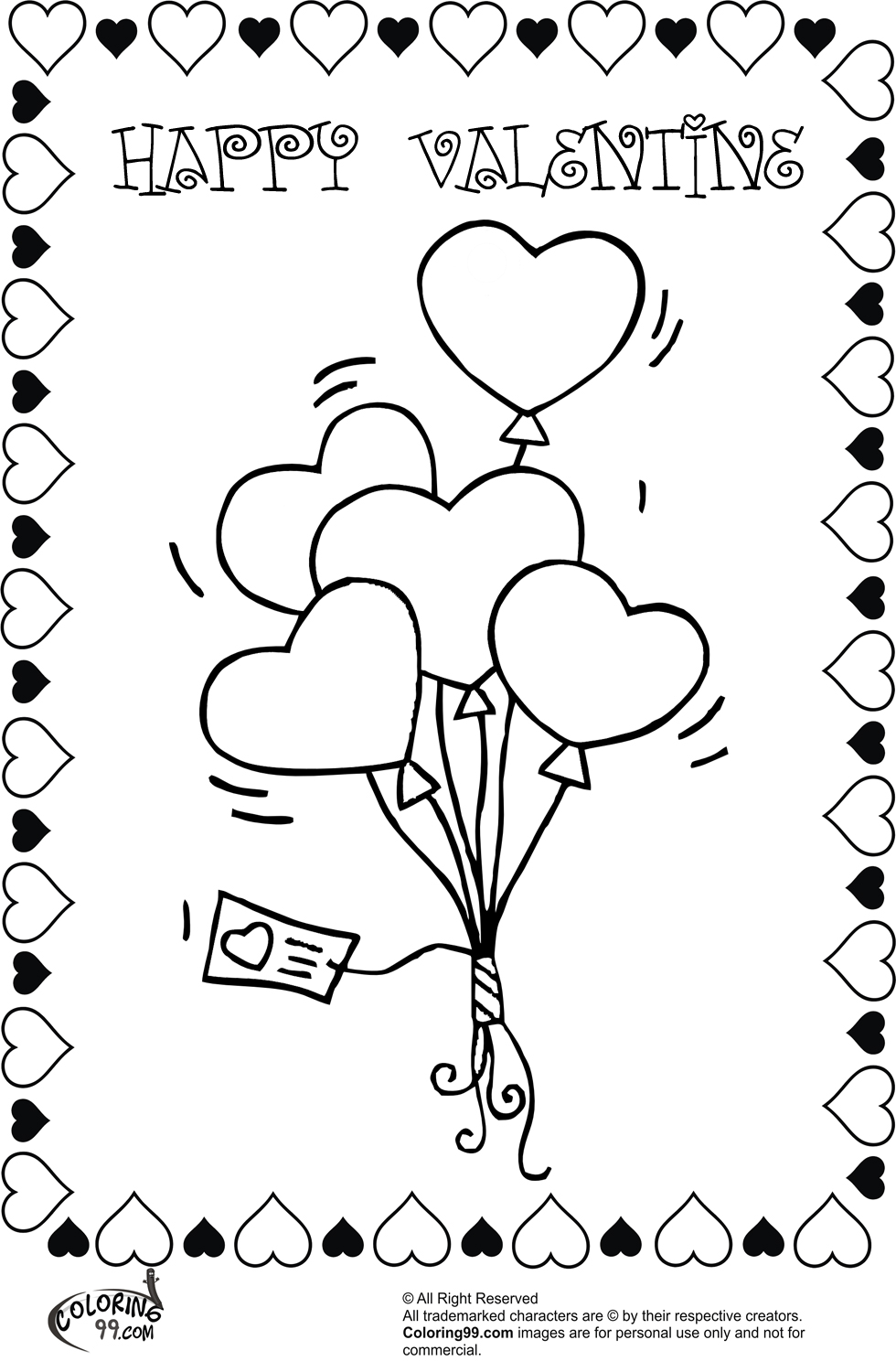 valentine heart balloons coloring pages