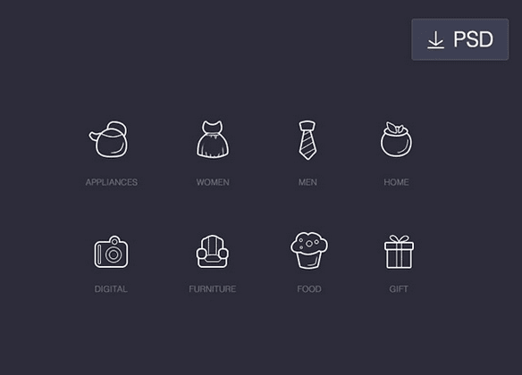 8 Shopping line icons – PSD