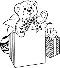 Smiling teddy bear with Christmas gifts and ornaments coloring page picture