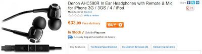Play.com: In-Ear-Kopfhörer Denon AHC560R für 33,99 Euro inklusive Versandkosten