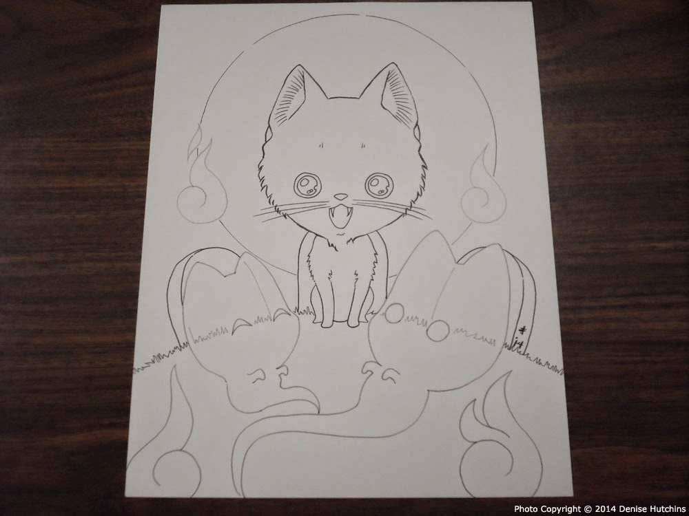 Lineart Drawing of a Chibi Cat and Ghosts