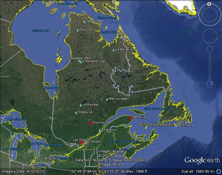 Meteorite Maps And Impact Craters Worldwide Quebec Canada - Map of quebec canada