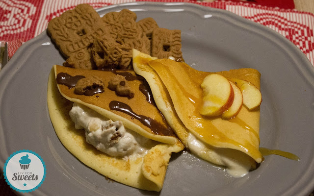Pfannkuchen, Degustabox, Rezept, Pancakes, Apfel, Quark, Gewürzspekulatius, Marzipan, Quarkcreme, Apfelmus, Ahornsirup