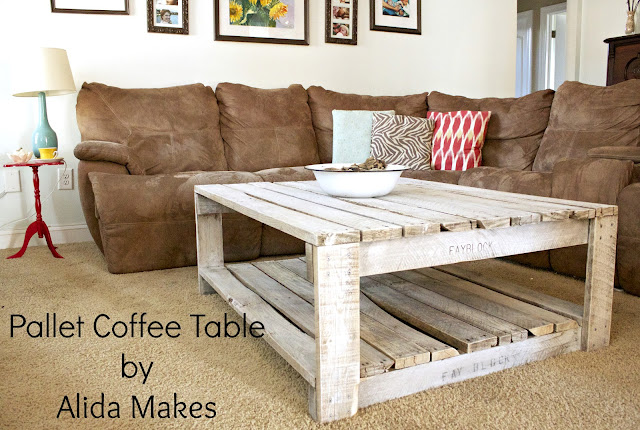 diy pallet coffe table with white wash paint instructions