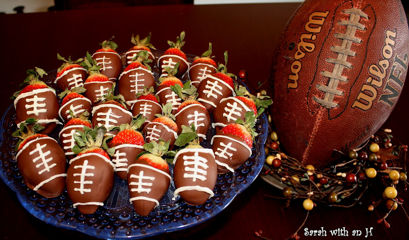 "Sarah with an H: ""FOOTBALL"" Chocolate Covered Strawberries"
