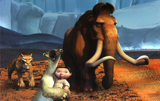 Manny, Diego, Sid and the human baby in Ice Age 2002 animatedfilmreviews.filminspector.com