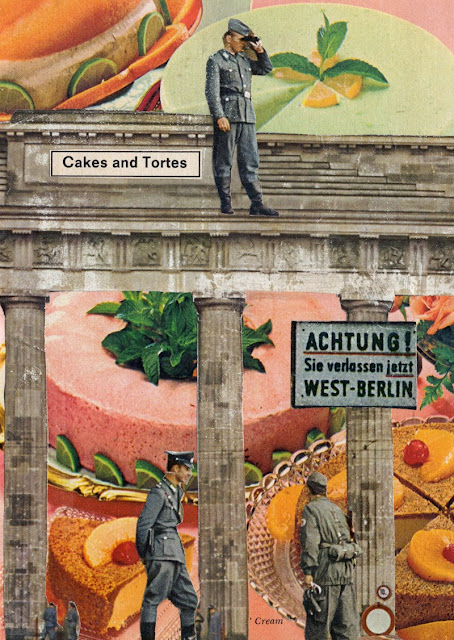 Postcards featuring retro food and old buildings