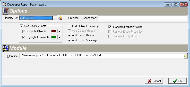 Generación de informes de objetos Developer