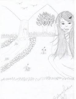 Desenho - garota agachada