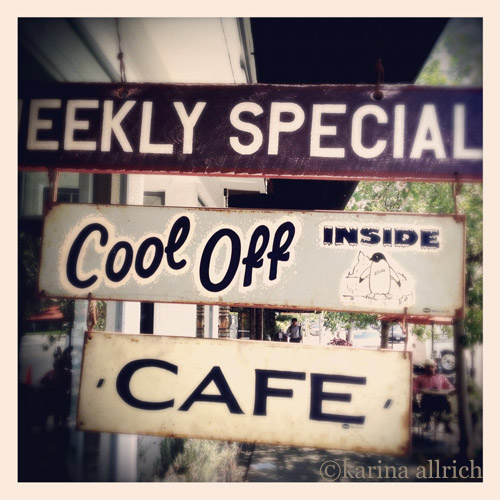 Vintage style iphone pic of shop signs in Tujunga Village by Karina Allrich.