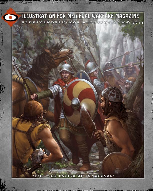 """Historical Illustration about """"The Battle of Rocesvalles"""" by ªRU-MOR for Medieval Warfare Magazine. Frankish cavalry vs Basque warriors (almogaver). Almogávares contra la caballería de los Francos carolíngeos"""