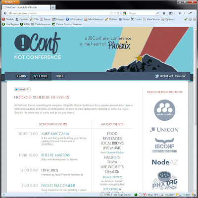 Screen shot of http://notconf.com/schedule.
