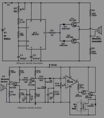 ultrasonic remote control circuit simple schematic diagram rh schematic audio blogspot com Circuit Remote Control Circuit LCD TV Schematic Diagram