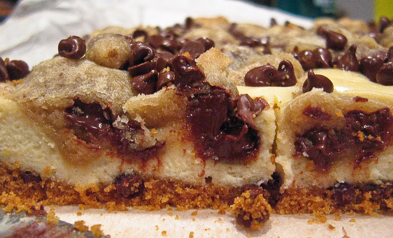 Chocolate Chip Cookie Dough Cheesecake Bars - The Spiced Life