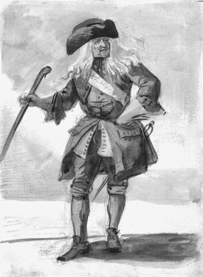 18th Century man in tricorn hat
