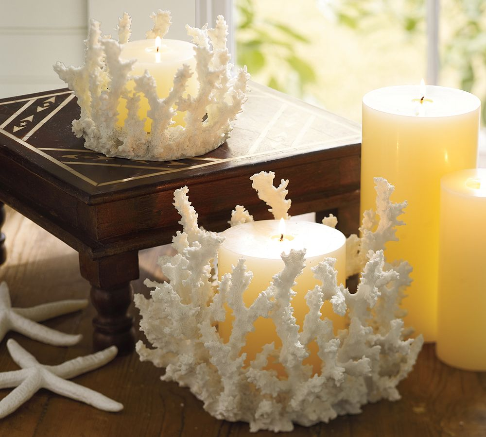 Shaped coral pillar holders allthingabout for Bathroom decor with candles