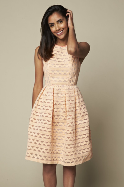 Peach party dress at Fitzroy Boutique