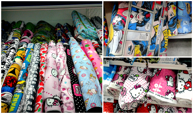 Hello Kitty Star Wars Wonder Woman fabrics