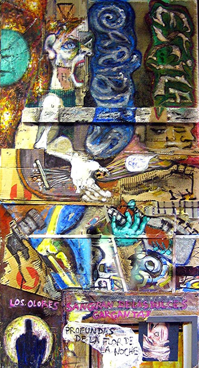 Imagen de Garganta, obra original de Juan Sánchez Sotelo realizada con técnica mixta. Texto y video donde se muestra a modo de noticia, realizado también por Juan Sánchez Sotelo., de Artistas6 academia de dibujo y pintura de Madrid. Clases y cursos para aprender a dibujar y pintar. Venta de obra original contemporánea figurativa y abstracta. En la obra se cita a Silvia Plath, hay grafiti, música y guitarrista. Acrílico y técnica mixta sobre madera.