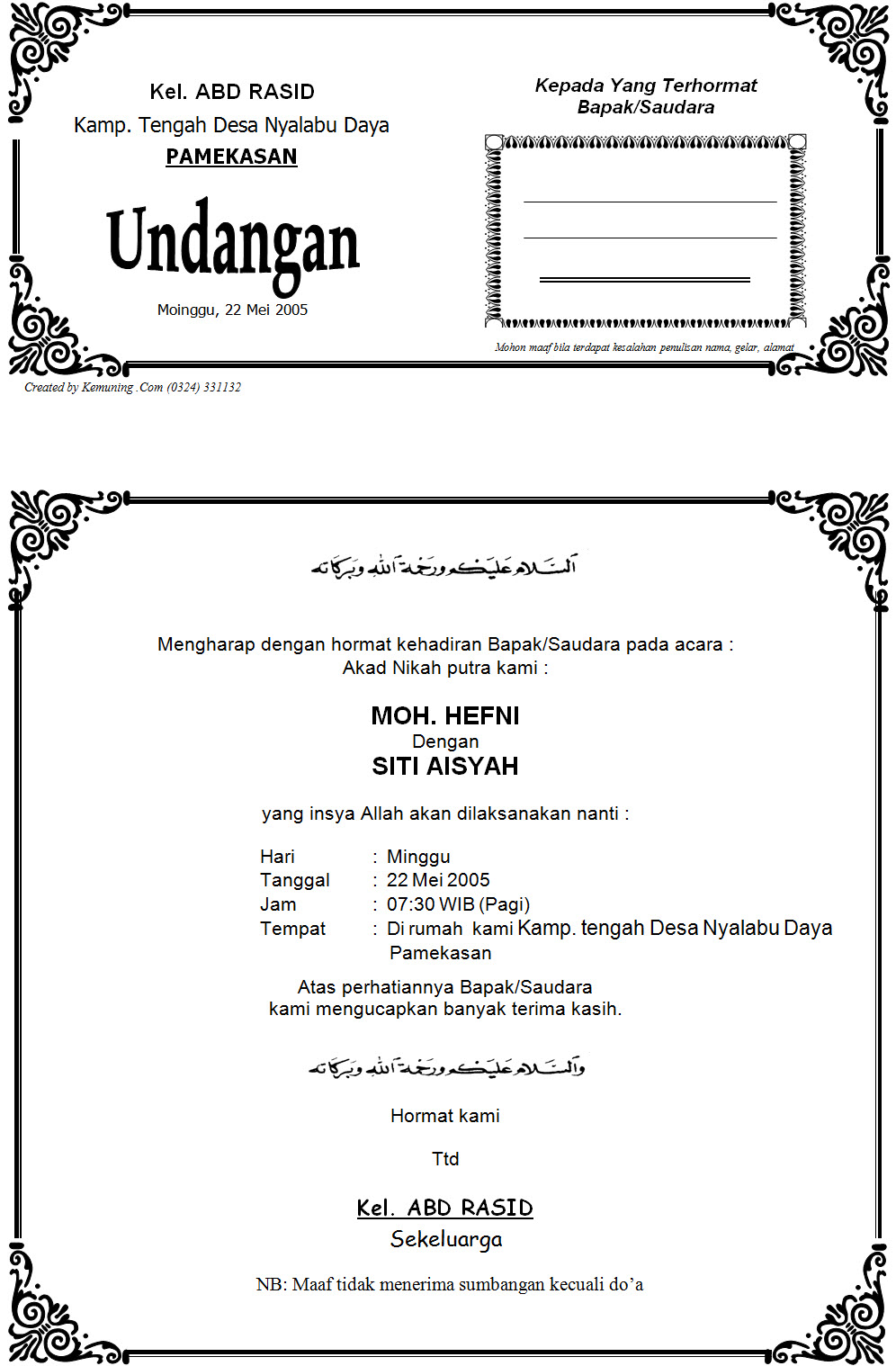 Download Contoh Undangan Akad Nikah
