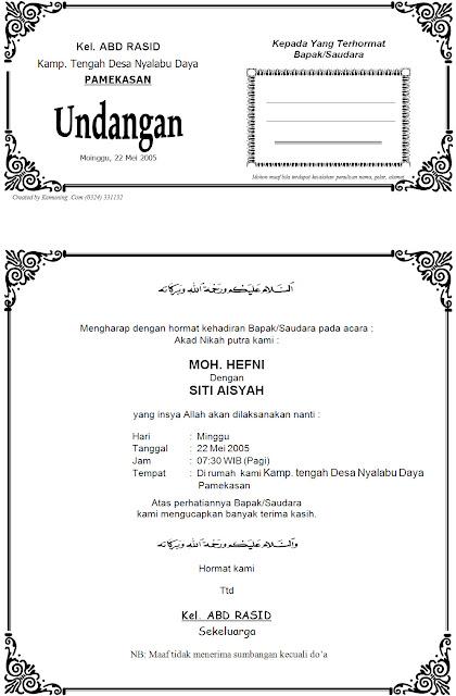 Download Contoh Undangan Akad Nikah - Download Contoh Desain