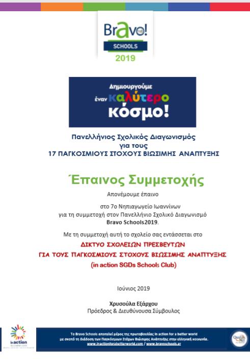 ΔΙΑΚΡΙΣΗ ΣΤΑ BRAVO SCHOOLS 2019
