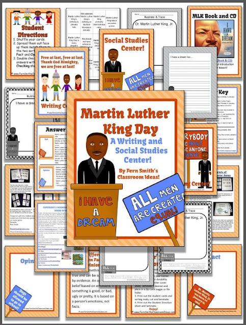 http://www.fernsmithsclassroomideas.com/2014/12/martin-luther-king-jr-literacy-centers.html