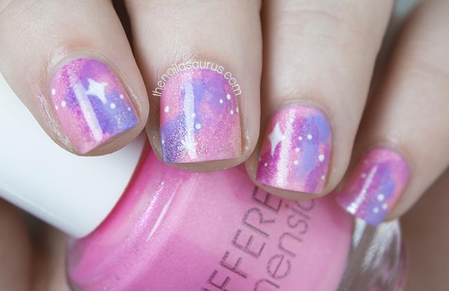 Shimmery Pink Galaxy Nail Art The Nailasaurus Uk Nail Art Blog
