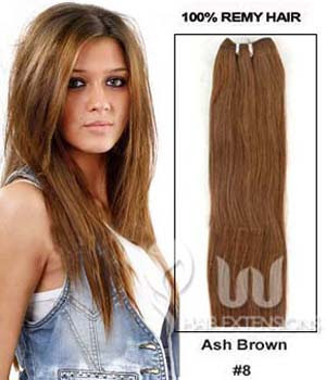 22 inch Ash Brown(#8) Straight Indian Remy Hair Weave