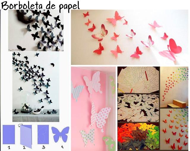 decorar parede sem quadros borboleta de papel