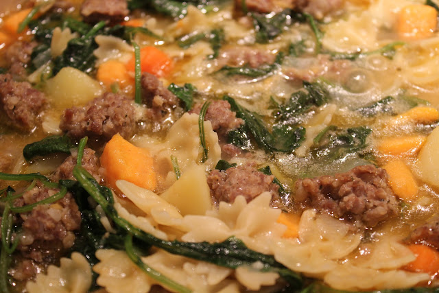 Italian sausage, potato, and kale soup
