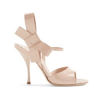 Miu Miu nude high heels with bow on side