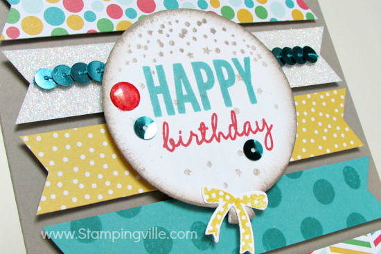 Die-cut happy birthday balloon with epoxy sticker and sequin accents.
