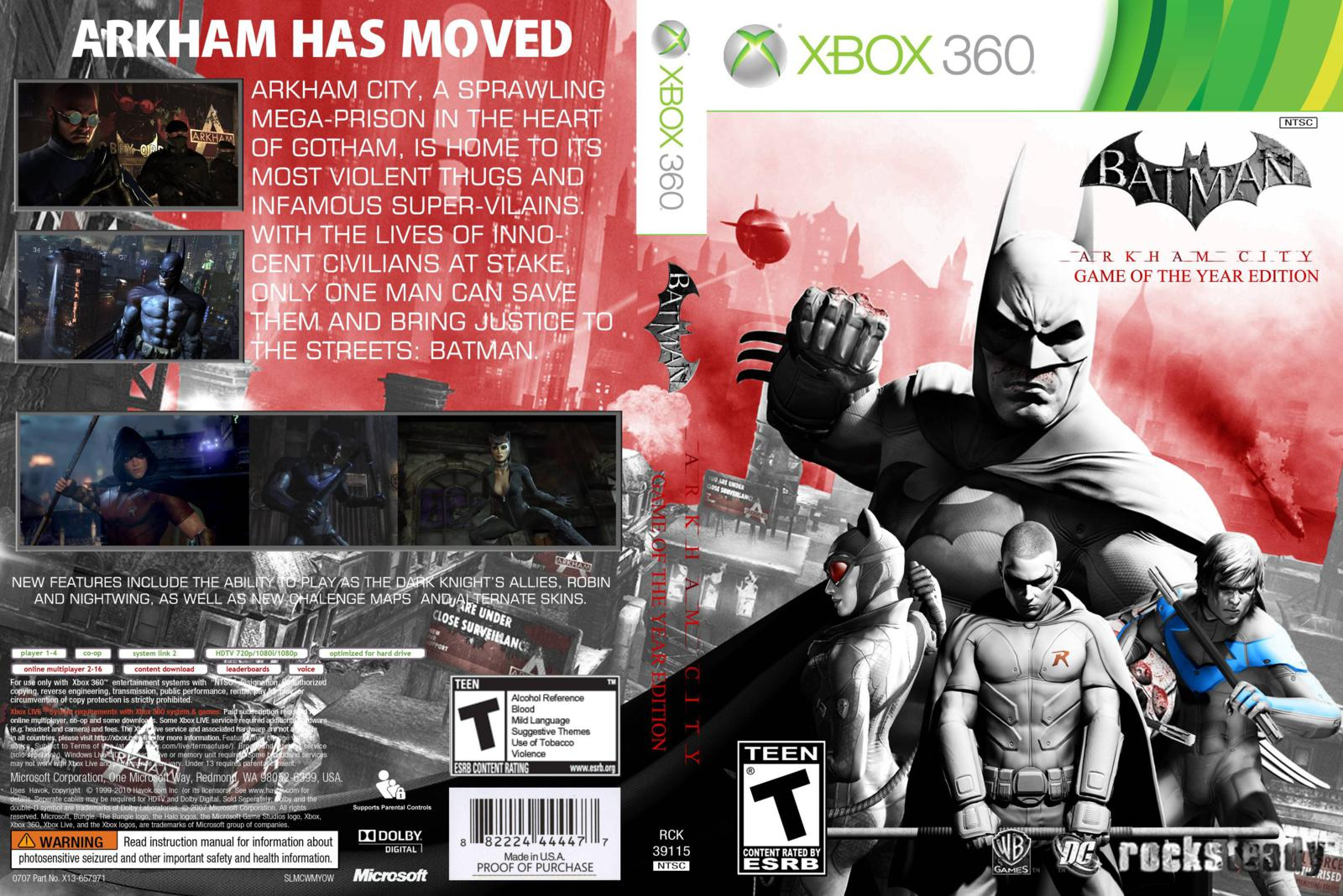 Capa Batman Arkham City Game Of The Year Edition Xbox 360 ~ Gamecover