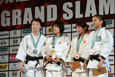 Mongolia, Fight, Grand-Slam, Japan, Judo, Women, Sports, Tokyo, Tournament, Bronze, Silver, Winner, Medalists,  Podium, Brazil, Ippon, Ami Kondo, Urantsetseg Munkhbat, Emi Yamagishi,