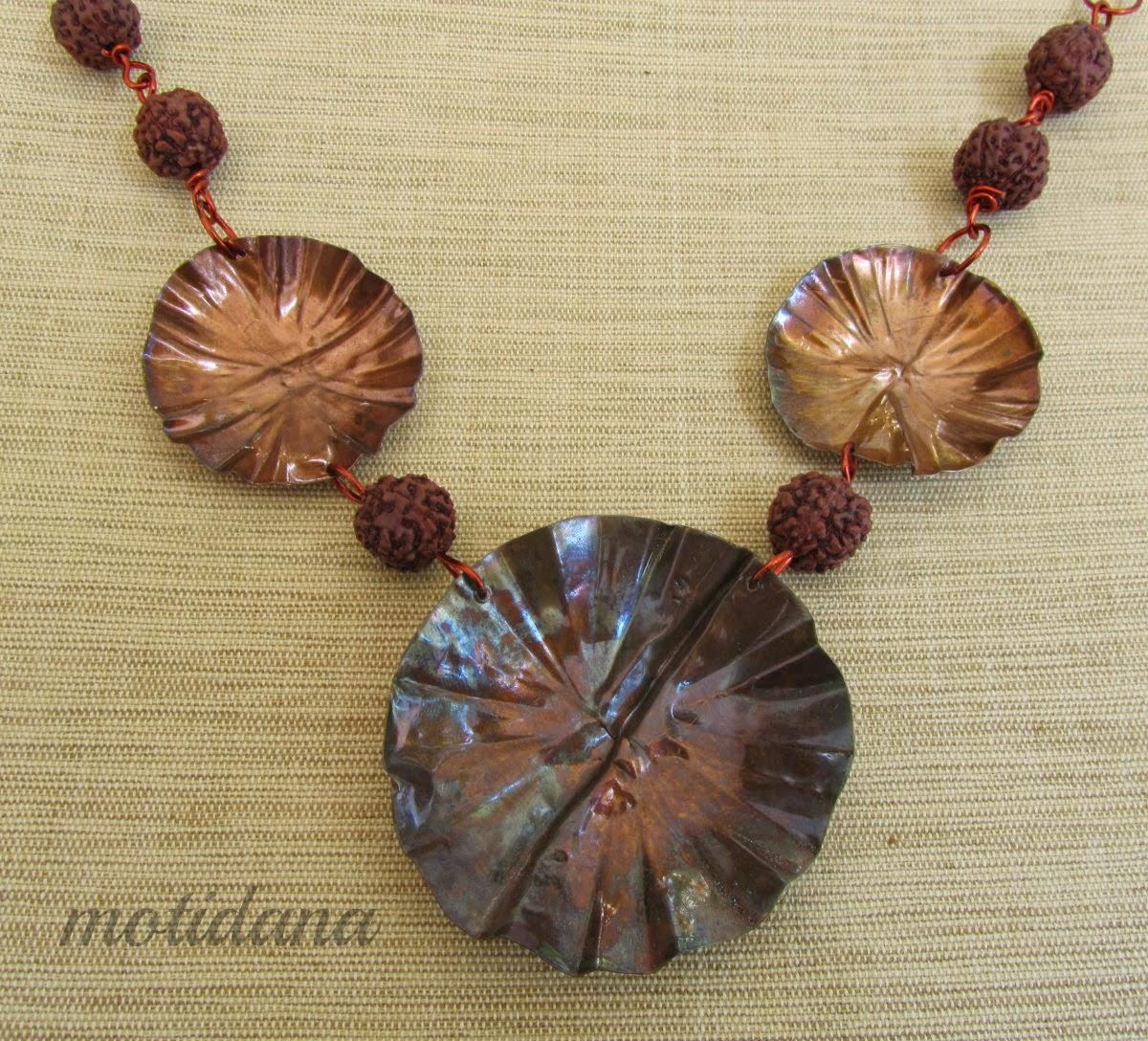 copper sheet jewellery , fold formed flowers
