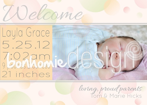 photo card birth announcement by bonhomie DESIGN