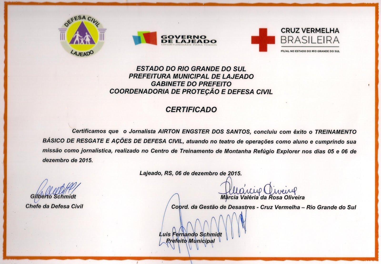 Certificado da Defesa Civil e Cruz Vermelha