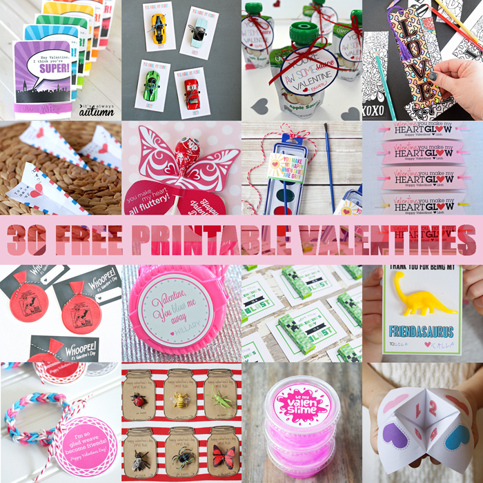These 30 Free Printable Valentines are such a fun alternative to store bought.  Your kiddo will have the most unique Valentines in their class.
