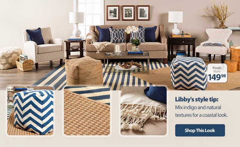 mix & match home accessories, pillows, throws, poufs, & rugs