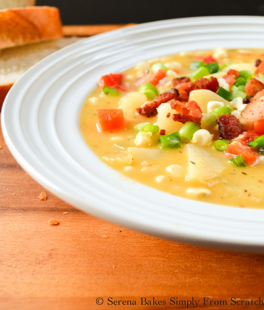 Cheddar Bacon Corn and Potato Chowder | Serena Bakes Simply From Scratch
