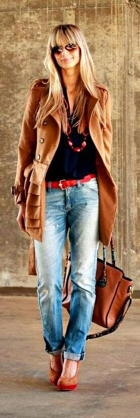Street Style - Northern California Style - Brown Coat and Handbag with High Heel Shoes, Jeans and Red Belt