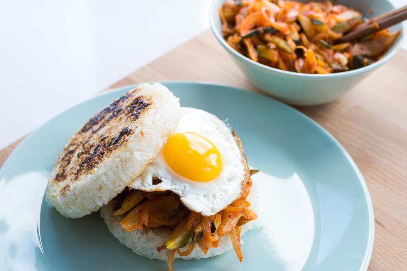 Vegetarian Kimchi Rice Burger | Svelte Salivations