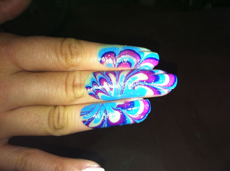 Robin sparkles blog september 2012 nail art water marbling marble pink purple blue green prinsesfo Image collections