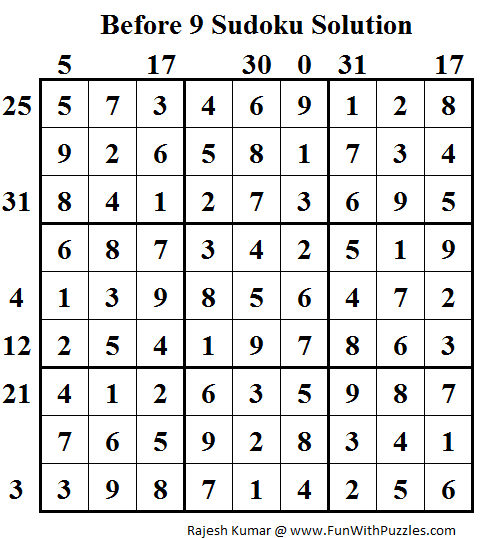 Before 9 Sudoku (Daily Sudoku League #90) Solution